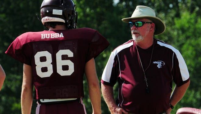 Forrest County AHS head coach Lee Sullivan calls out a play during practice Tuesday afternoon at Brooklyn.