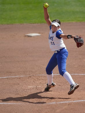 Oak Creek pitcher Becca Oleniczak throws during the