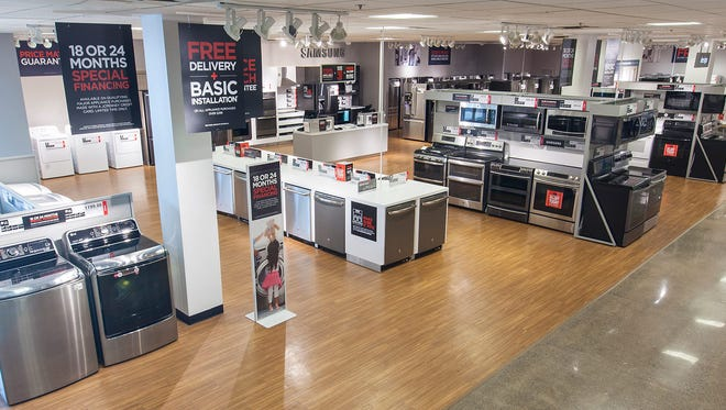 JCPenney in Meridian Mall will unveil its major appliance showroom on Friday. This is the showroom at Vista Ride Mall in Lewisville, Texas.
