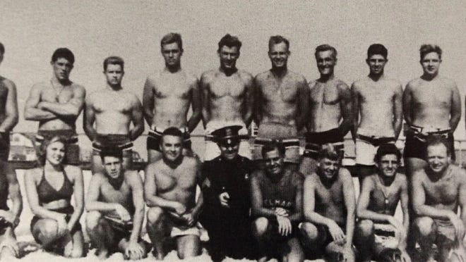 Jeanne Bonk (front row) became Belmar's first female lifeguard in the summer of 1944.