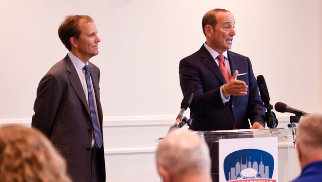 Nashville Soccer Holdings CEO John R. Ingram, left, and Major League Soccer Commissioner Don Garber discuss Nashville's bid for a Major League Soccer team during a press conference held at Thompson Hotel Nashville on Friday, July 7, 2017.