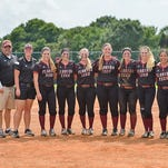 Brooke Smith, Brigit Godfrey, Kaci Kelley, Nicole Miller, Elizabeth Eby, Taylor Smith and Taylor Peterson were all honored in between Saturday's doubleheader on Senior Day at Nancy Bottge Field.