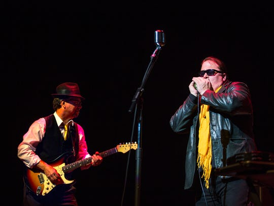"Guitarist Dan Cunningham, lead singer and harmonica player Jeff ""J.C."" Cummings, bass player Emery Kidd (not pictured) and drummer AJ Maestro Hebrew (not pictured), of the Montgomery, Alabama band King Bee, perform a song during the 33rd annual International Blues Challenge finals at the Orpheum Theatre on Saturday, Feb. 4, 2017. King Bee represented the Magic City Blues Society during the challenge. IBC was hosted by The Blues Foundation, a Memphis-based organization that preserves blues heritage, celebrates blues recordings and performances, ensures the future of this American art form, and expands worldwide awareness of the blues."