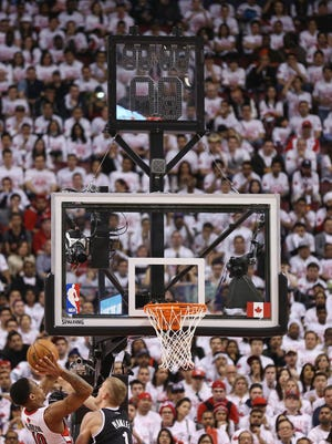 The Raptors' shot clocks malfunctioned at the Air Canada Centre during Game 1 of a series against the Nets.