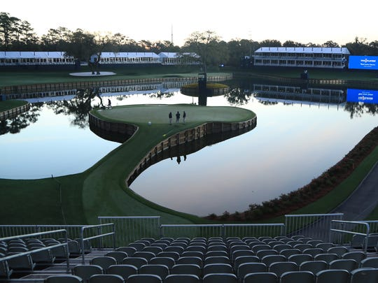 A view of the 17th green at TPC Sawgrass after the cancellation of the 2020 Players Championship. Photo by Sam Greenwood/Getty Images