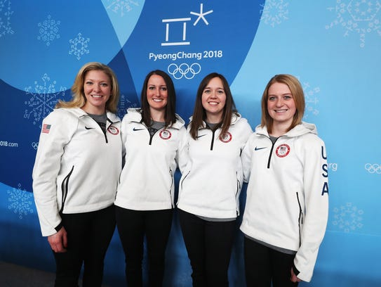 Nina Roth (from left), Tabitha Peterson, Aileen Geving and Corey Christensen of the United States women's curling team are focused on having fun to control their jitters.