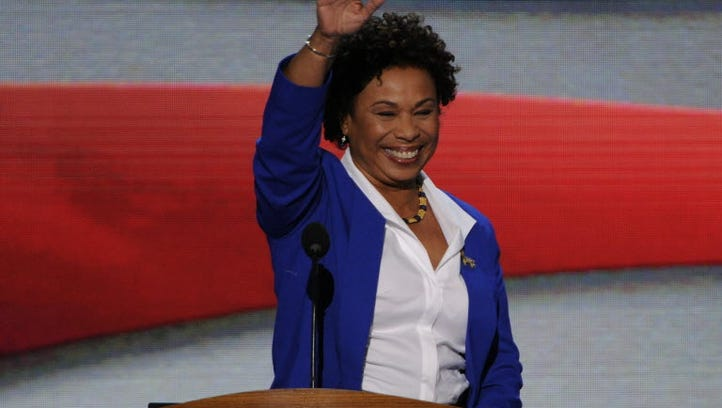 California Rep. Barbara Lee waves as she takes the