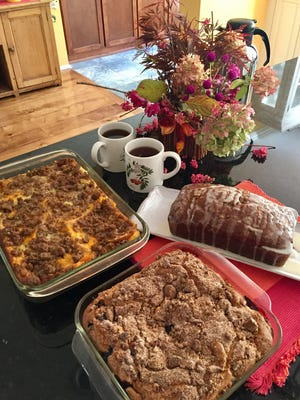 A versatile egg strata, blueberry coffeecake and lemon-glazed pumpkin bread will serve your day-after-Thanksgiving guests well.