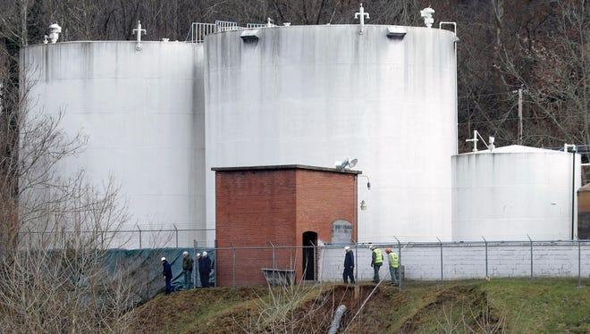 Storage tanks where a chemical leaked into the Elk River in Charleston, W.Va.