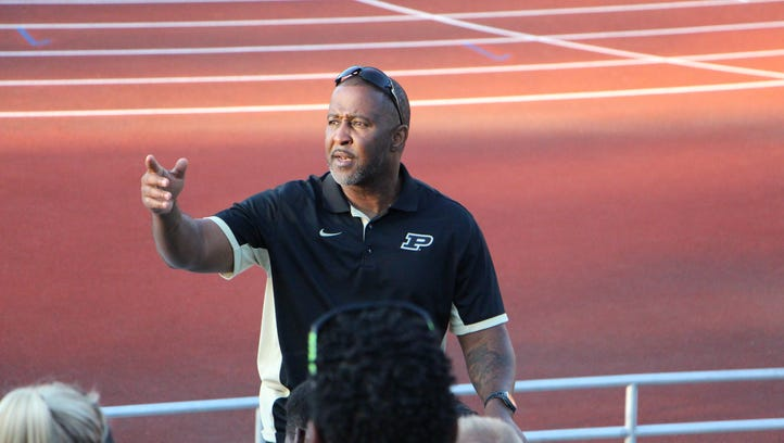Purdue track and field coach Lonnie Greene speaks to the Boilermakers at the Rankin Track and Field. Purdue track and field coach Lonnie Greene speaks to the Boilermakers at the Rankin Track and Field