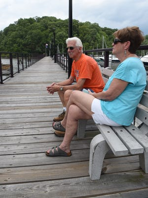 George, 81, and Mary Dee, 76, Eighmy of Rhinebeck enjoy the view at the Mills Norrie State Park Marina in Staatsburg.