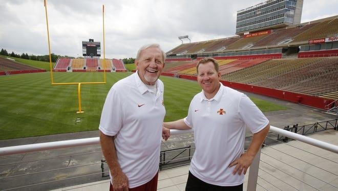 Rutgers defensive line coach Shane Burnham, right, is the son of 50-year coaching veteran Wally Burnham, left,.