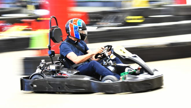 Race car driver Arie Luyendyk, Jr. runs a qualifying lap during the Doug Guthrie Memorial Media Karting Challenge on Tuesday at Kart2Kart in Sterling Heights.