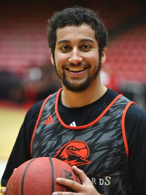 Southern Utah University guard James Mcgee smiles for a portrait after practice at the America First Event Center Wednesday, February 21, 2018.