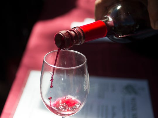 """A glass of Grinders Switch winery's """"General II"""" is"""