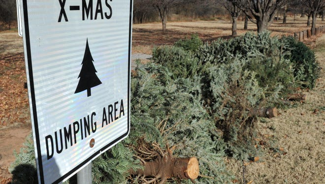 A sign directs people to where they can safely dispose of their Christmas trees.