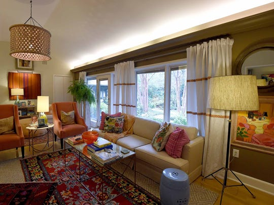 The den is one of the most modern rooms in the house,