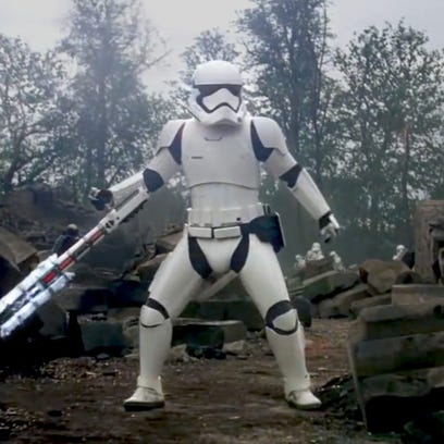 """The stormtrooper (pictured) who calls Finn a """"traitor"""""""