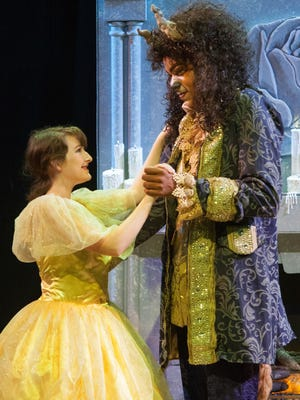 """Kayleigh Gallagher and Bryan Brown rehearse a scene for """"The Beauty and the Beast."""" The show opens Oct. 6 at DreamWrights."""