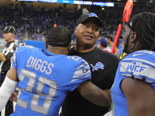 Lions coach Jim Caldwell hugs Quandre Diggs at the end of the 35-11 win against the Packers, Sunday, Dec. 31, 2017 at Ford Field in Detroit.