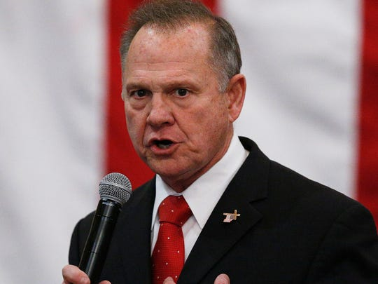 Roy Moore pictured at a campaign rally in Midland City,