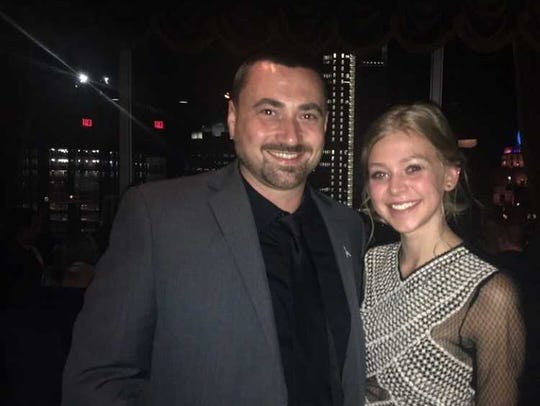 """Leah Schiman and """"The Rocket"""" producer BJ Rayniak smile for the camera."""