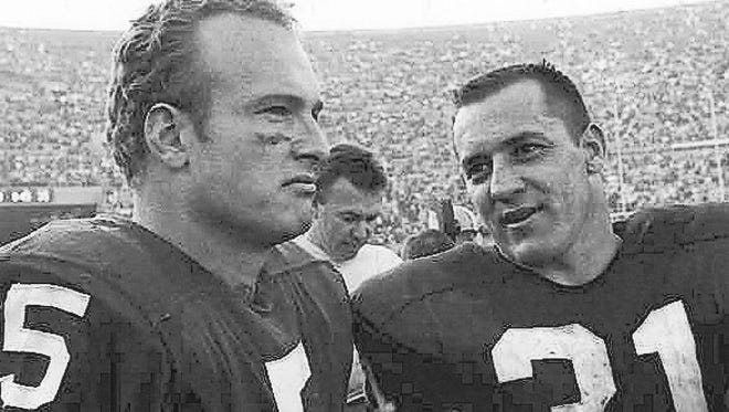 Green Bay Packers halfback Paul Hornung, left, and running back Jim Taylor stand on the sideline during Super Bowl I in Los Angeles on Jan. 16, 1967. Press-Gazette archives