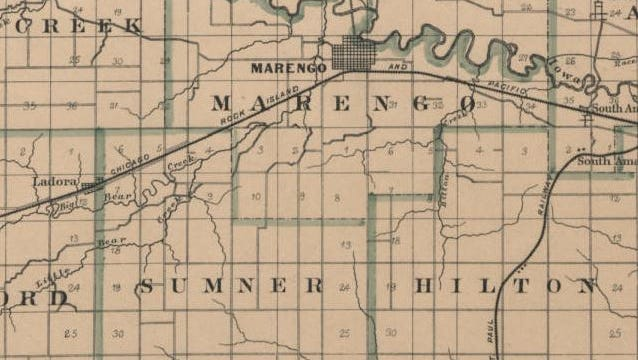 One of the ancestors of actor John Stamos lived, for a brief time, on a farm in Sumner Township, southwest of Marengo. It is not currently known where exactly the Shields farm was located.