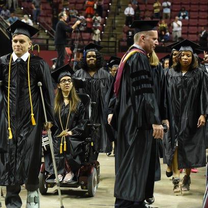 TCC Graduates start the walk before the start of their