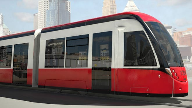 This rendering is an example what the M-1 Rail streetcar could look like in Detroit once the system is operational in 2016.