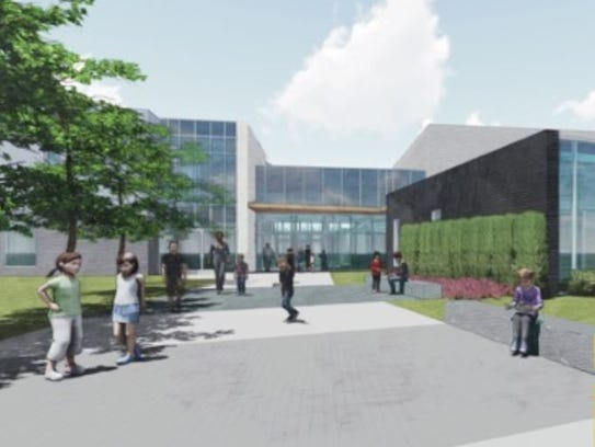 A rendering of the main entrance for the proposed elementary