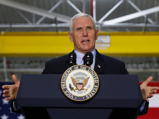 Vice President Mike Pence speaks at American Axle & Manufacturing in Auburn Hills, Mich., Sept. 18, 2017. (AP Photo/Paul Sancya)
