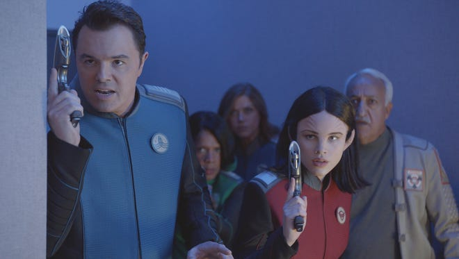 Seth MacFarlane, Penny Johnson Jerald, Adrianne Palicki, Halston Sage and guest star Brian George in 'The Orville.'