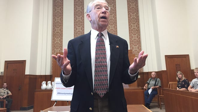 U.S. Sen. Chuck Grassley, R-Iowa,speaks Thursday, Sept. 1, 2016, at a town hall meeting in a courtroom at the Jones County Courthouse in Anamosa, Iowa.