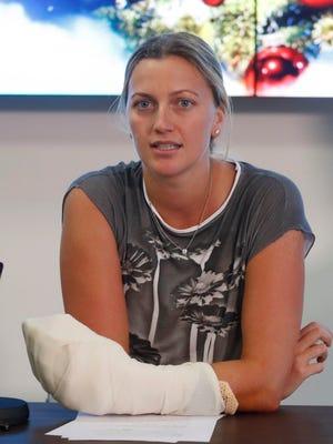 Petra Kvitova has returned to the tennis court to practice.