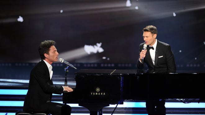 "LOS ANGELES, CA - MAY 21:  Musician Richard Marx (L) and host Ryan Seacrest perform onstage during Fox's ""American Idol"" XIII Finale at Nokia Theatre L.A. Live on May 21, 2014 in Los Angeles, California.  (Photo by Kevin Winter/Getty Images)"