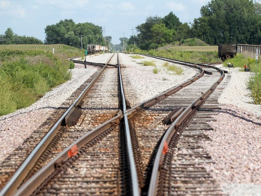 Railroad tracks divide the city-owned 173-acre industrial