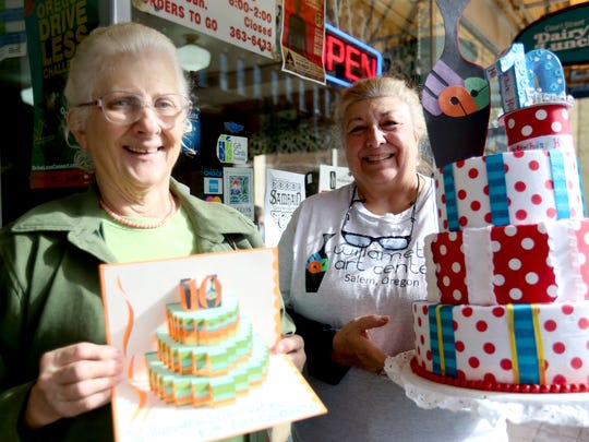 Cindy Nielsen, left, and Wendy Steinberg, invite people to attend the Willamette Art Center's 10th Anniversary open house, complete with cake, tours and demonstrations by artists, on Saturday from 12 - 4 p.m.