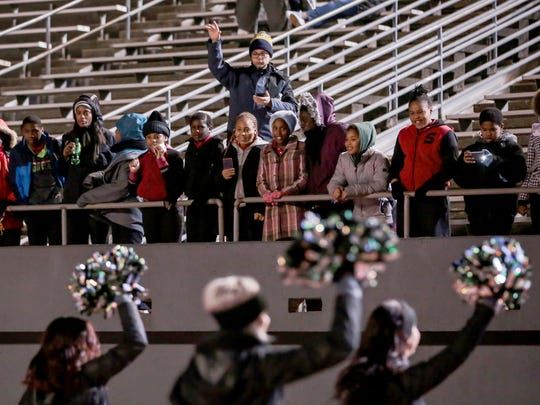 The Eastern Michigan Eagles fans cheer for their team during a football game against  Central Michigan Chippewas on Tuesday, November 22, 2016 at Rynearson Stadium in Ypsilanti.