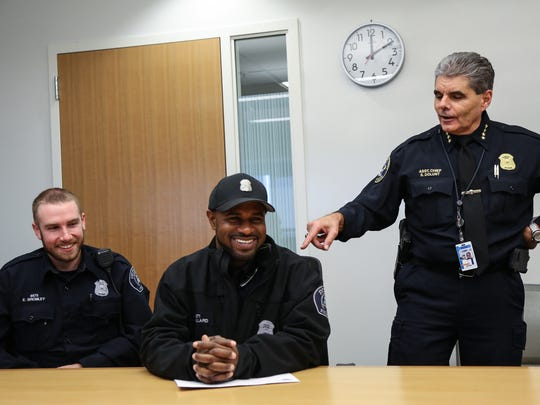 Detroit Police Asst. Chief Steve Dolunt (right) is