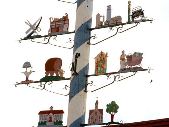 """The """"Maibaum"""", or the """"Tree of Trades"""" in Mt. Angel."""
