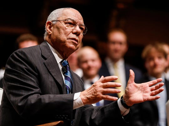 Former U.S. Secretary of State General Colin Powell on the stage during the James R. Mellor Lecture at Hill Auditorium on U-M campus in Ann Arbor, Tuesday, September 19, 2017.