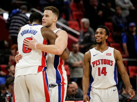 Detroit Pistons forward Blake Griffin hugs center Andre Drummond during a timeout in the second half against the Memphis Grizzlies at Little Caesars Arena in Detroit, Thursday, Feb. 1, 2018.