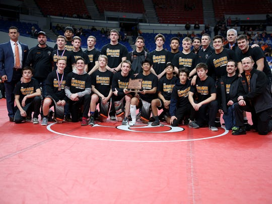 Sprague earns third place in the OSAA Class 6A Wrestling State Championships at Veterans Memorial Coliseum in Portland on Saturday, Feb. 17, 2018.