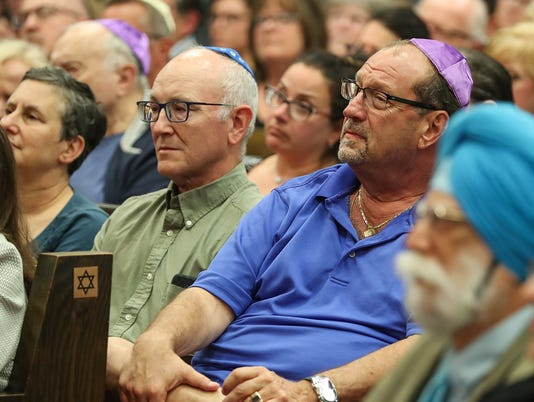 Solidarity gathering for Congregation Shaarey Tefilla and the central Indiana Jewish community after antisemitic vandalism, July 30, 2018