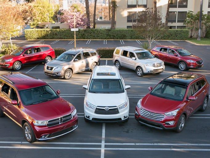 The Cars.com/USA TODAY/MotorWeek $40,000, Three-row SUV Challenge<br /> (Snappy, eh?) brought together (clockwise from left) Dodge Durango, Chevrolet Traverse, Nissan Pathfinder, Honda Pilot, Mazda CX-9, Hyundai Santa Fe, Toyota Highlander