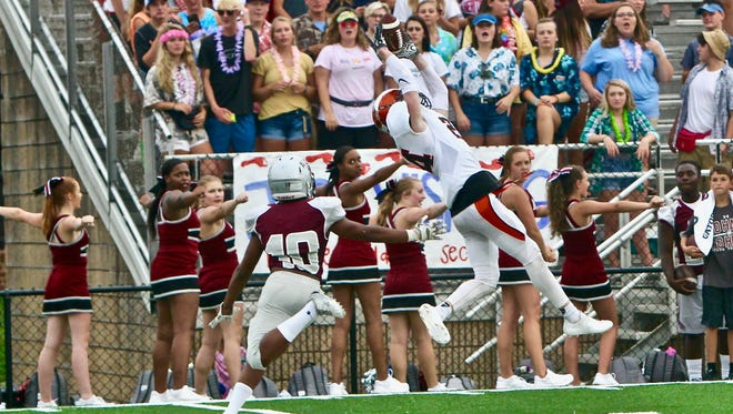 Greenback High School's #24 Josh Edwards, makes this catch deep in Alcoa territory for a first down.