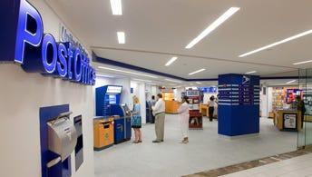 A U.S. Postal Service retail lobby.