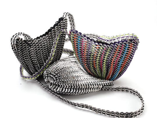 Purses made of recycle materials by Mexican artist