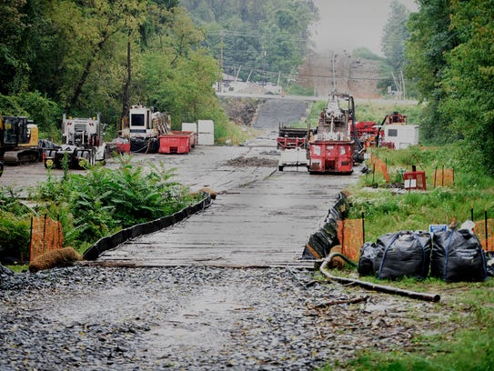 This view from N. Cornwall Rd. shows the progress of pipeline construction in September 2017. A bridge spans Snitz Creek.